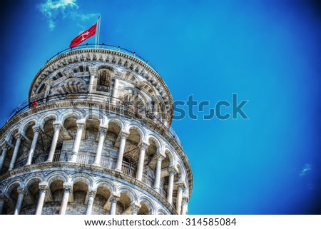 close up of Pisa leaning tower in hdr tone mapping effect - stock photo