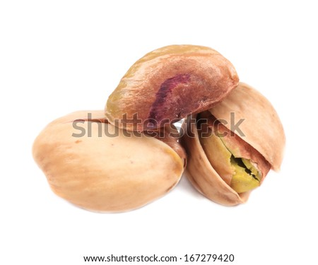 Close up of pistachios. Isolated on a white background.