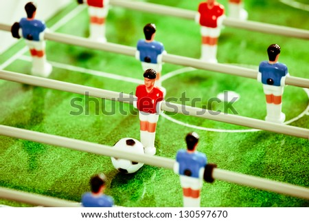 Close up of plastic table football game - stock photo