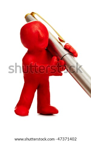 Close-up of plasticine red man carrying pen