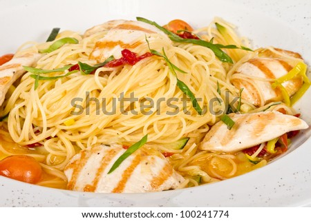 close-up of plate of pasta and chicken