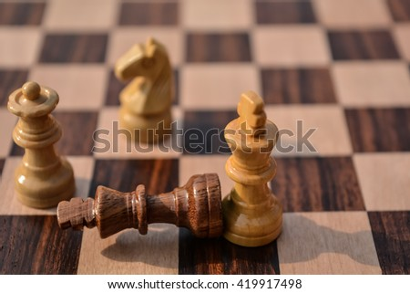 close-up of playing chess.