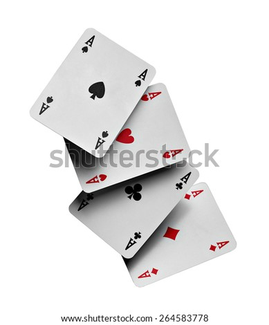 close up of poker cards aces on white background - stock photo