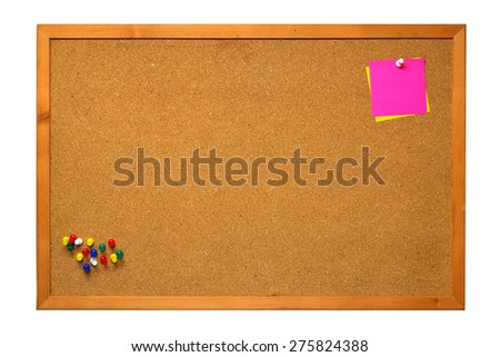 close up of post it, sticky note on cork board, empty space for text - stock photo