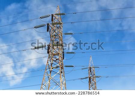 Close up of power poles in Kozani, Greece. - stock photo