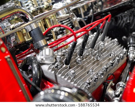 Close up of powerful engine of the modern car  - stock photo