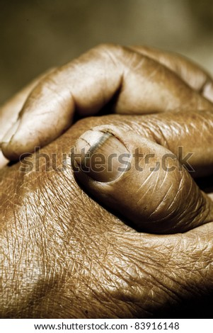 Close up of Praying Hands - stock photo