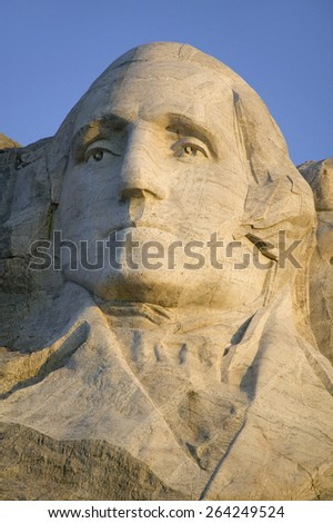 Close-up of President George Washington at Mount Rushmore National Memorial, South Dakota - stock photo