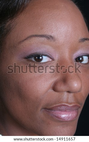 close up of pretty african american woman's face