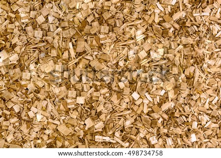 close up of processed wood waste and wood shavings