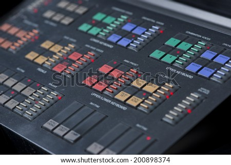 Close up of Professional MIDI-keyboard - stock photo