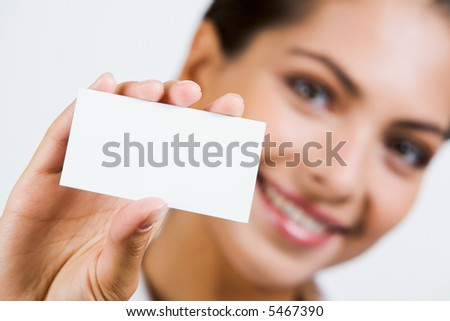 Close-up of  professional's white business card