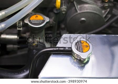 Close up of radiator cap. - stock photo