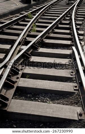Close up of Railroad Track Curve - stock photo