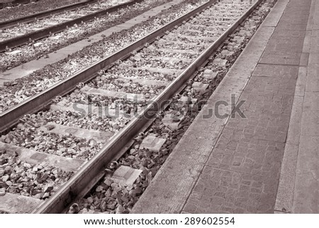 Close up of Railway Track in Black and White Sepia Tone