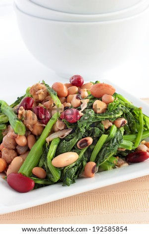 Close up of rapini vegetable side dish or main vegetarian meal - stock photo