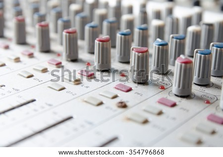 Close up of rear end of music amplifier - stock photo