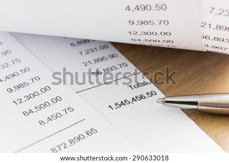 Close up of receipt paper. Grocery shopping list