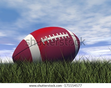 Close up of red and white rugby ball on green grass by beautiful day