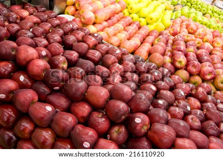 Close up of red apples - stock photo