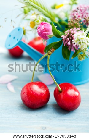 Close-up of red cherries on blue wooden background with summer flowers and herbs - stock photo