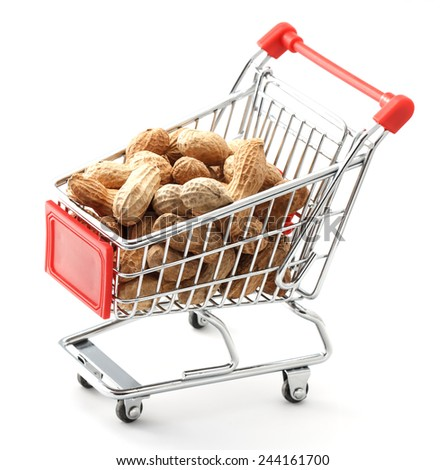 close up of red chrome shopping cart with groundnuts on white background - stock photo