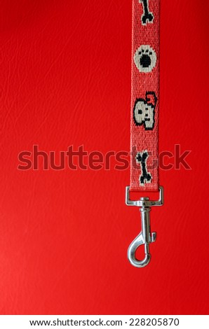 Close up of red dog leash on red background - stock photo