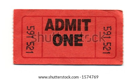 Close-Up of Red General Admission Ticket Isolated on a White Background.