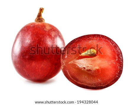 Close up of red grape isolated on white background. - stock photo