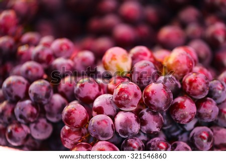 Close up of red grapes and other berries and fruits at market - stock photo