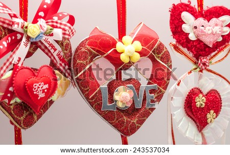 Close up of red heart decoration , using for symbol of love or valentine's day background - stock photo