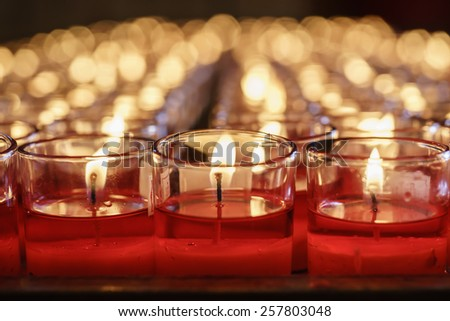 Close up of red lucky candles - stock photo