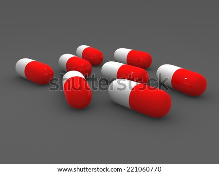 close up of red medical capsules. 3d render  - stock photo