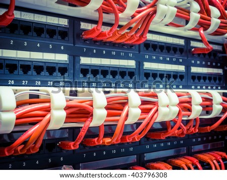 Close up of red network internet cables, patch cords connected to black switch, router in data center - stock photo