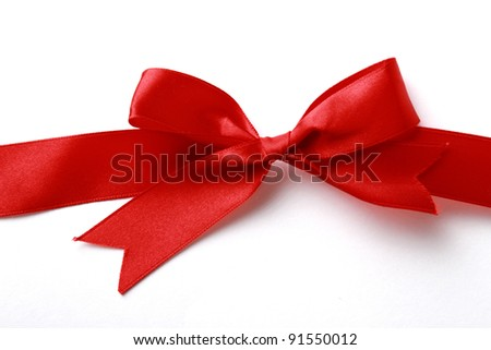 close up of red ribbon - stock photo