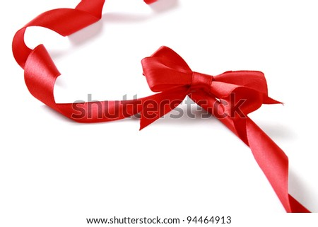 close up of red ribbon , isolated on white background