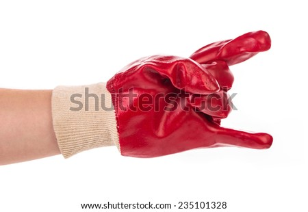 Close up of red rubber glove. Isolated on a white background.