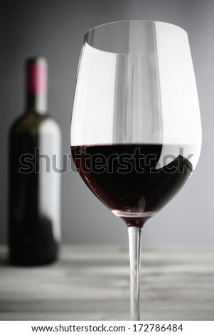 Close-up of Red Wine Glass, selective focus - stock photo