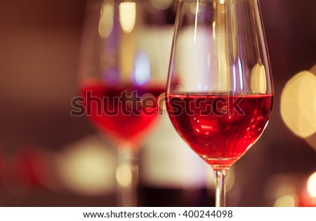 Close up of red wine in a glass.