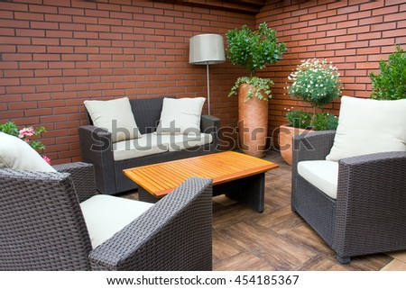 Close-up of relaxing furniture in the garden
