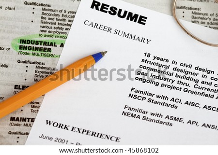 close up of resume form with ads concept for unemployment. - stock photo