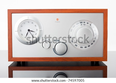 Close-up of retro-styled radio tuner with reflection