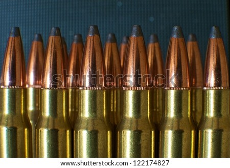 close-up of rifle ammunition