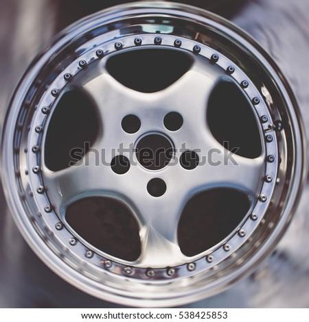 close up of rims car alloy wheel sport wheels