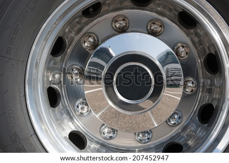 Close up of rims from a truck