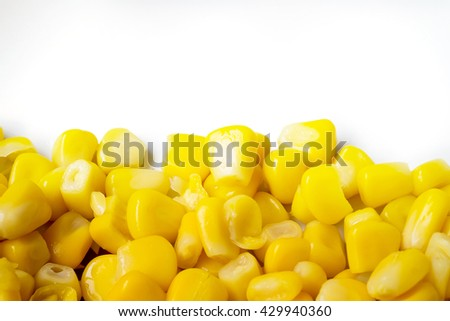 Close up of Ripe corn  on white background  - stock photo