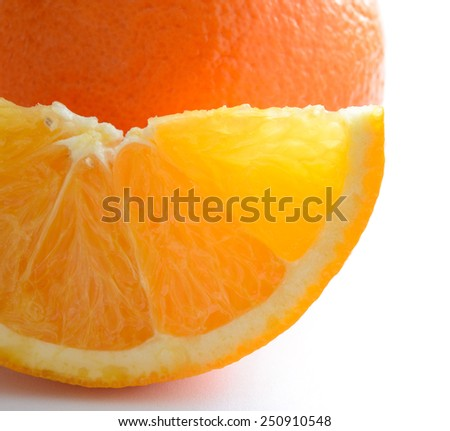 Close Up of Ripe Juicy Orange Slice on the White Background - stock photo