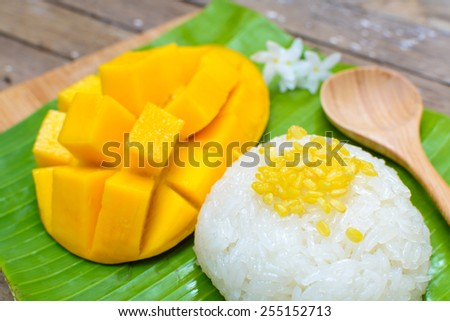 Close up of Ripe mango and sticky rice on wooden table