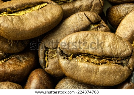 Close up of roasted coffe beans - stock photo