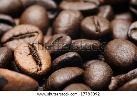 Close up of roasted coffee beans closeup